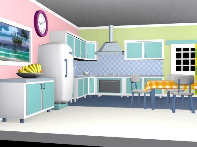 Cartoon detailed kitchen 3D | CGTrader on animated kitchen, cartoon clean kitchen, top cartoon from the kitchen, drawing of cartoon kitchen, cartoon restaurant kitchen, cartoon mother with a kitchen,