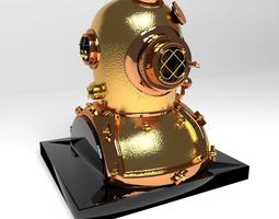 3D Antique Brass Divers Helmet