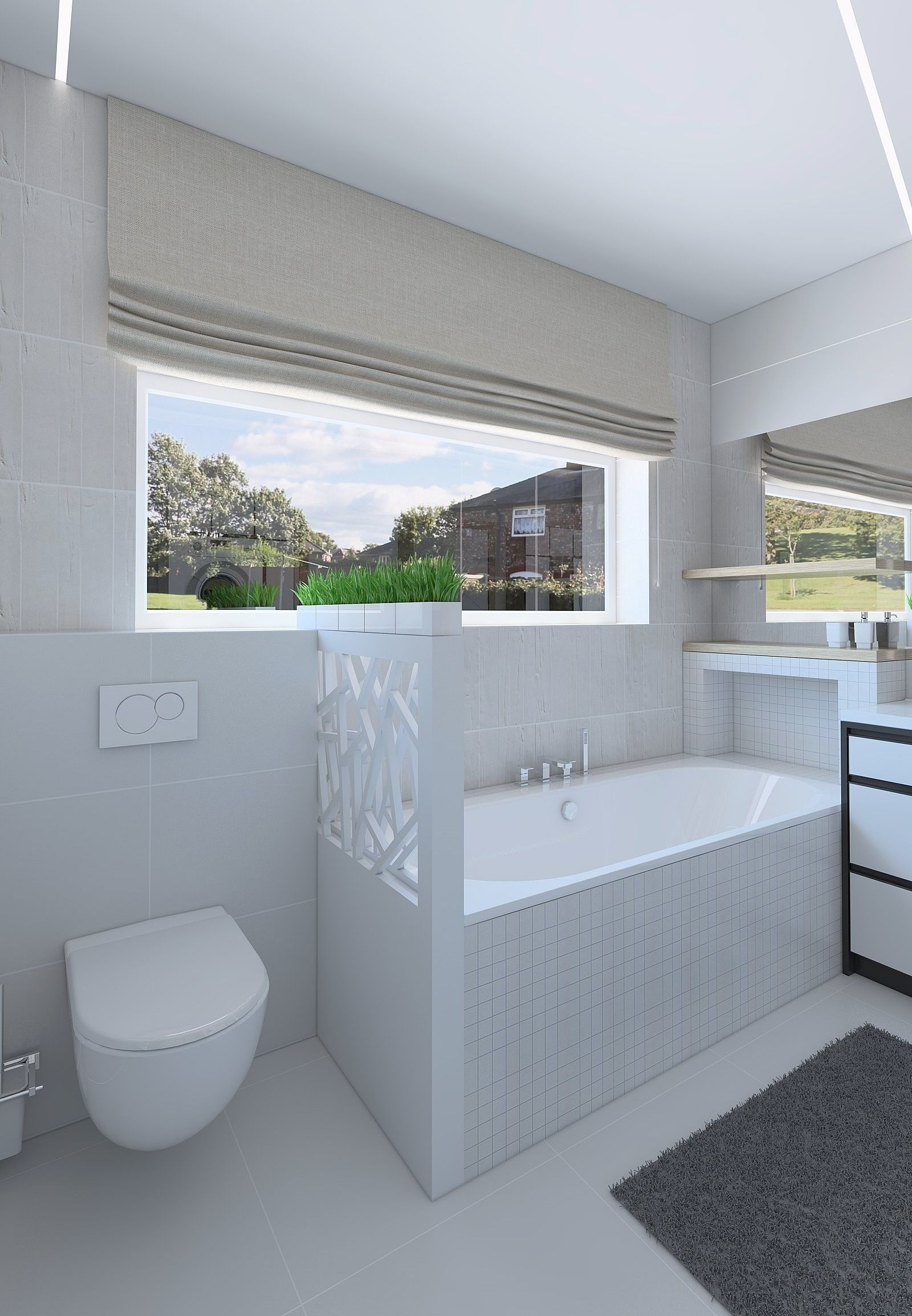 3D Modern bathroom with bright tiles | CGTrader