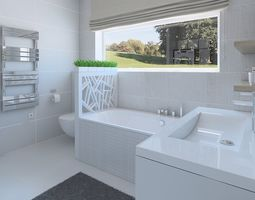 3D Modern bathroom with bright tiles