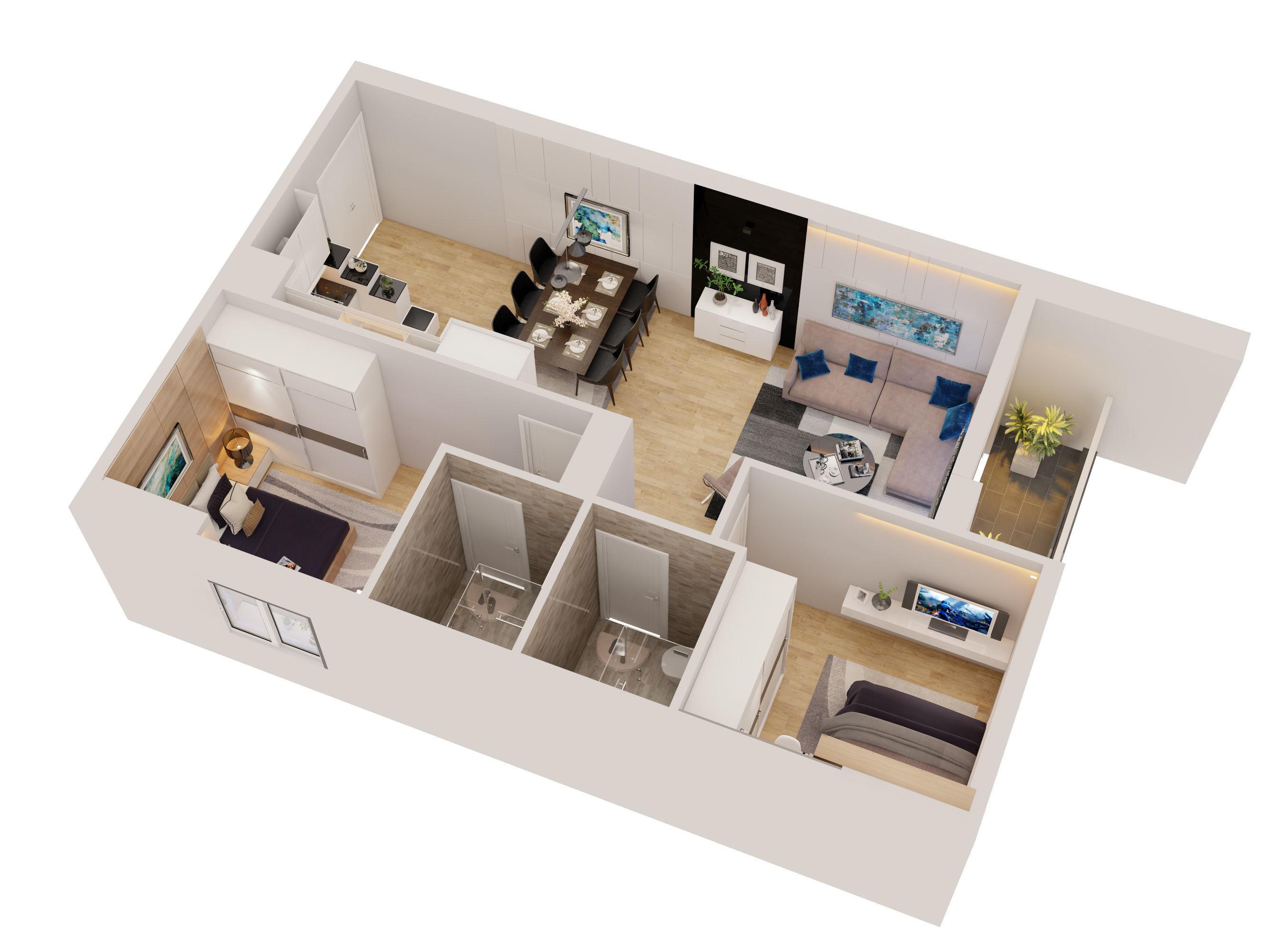 Cutaway apartment full furnitures in modern design 3D model   3D model