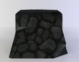 low-poly black rock 3d asset
