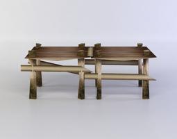 3d asset game-ready wooden square platform