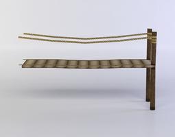 wooden platform low-poly 3d model