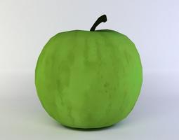 low-poly 3d asset green apple