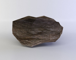 low-poly flat rock small 3d model