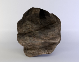 low-poly 3d asset round rock small