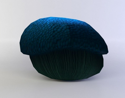blue mushroom medium 3d asset VR / AR ready