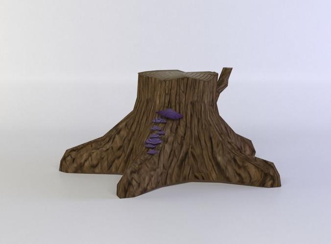 tree trunk 3d model low-poly obj fbx c4d lwo lw lws dae X 1