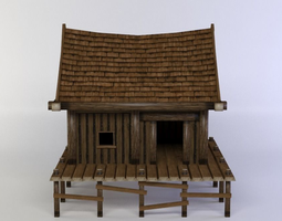 game-ready 3d model wooden house