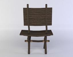 3d asset wooden chair game-ready