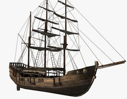 3d model chinese old ship 01