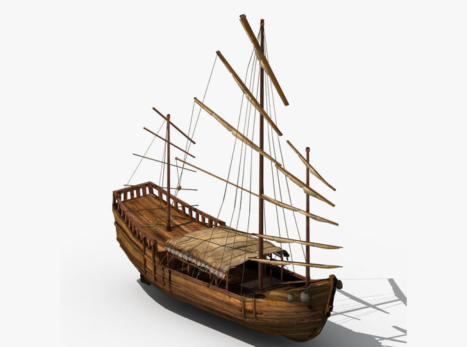 Chinese Old Ship 02 3D Model Max Obj Fbx