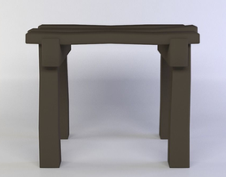 3d asset small table low-poly