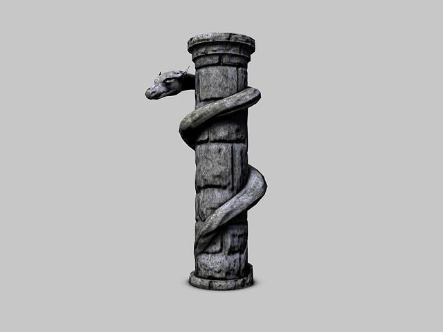 serpent stone column 3d model low-poly max obj mtl 3ds fbx c4d stl 1