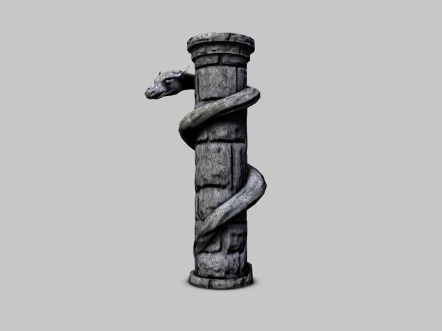 Serpent stone column3D model
