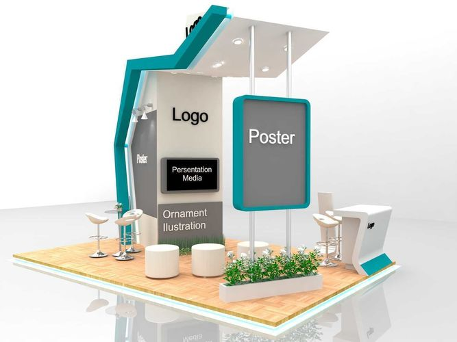 Exhibition Booth Obj : Futuristic exhibition stand with d model