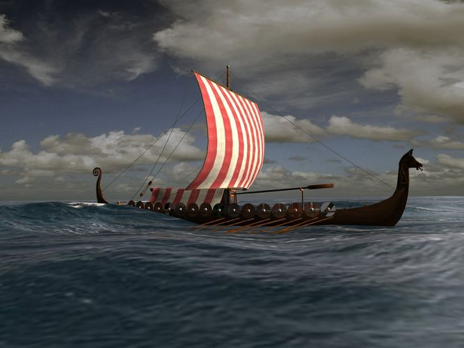 viking longship - drakkar 3d model low-poly max obj blend wrl wrz mtl x3d 1