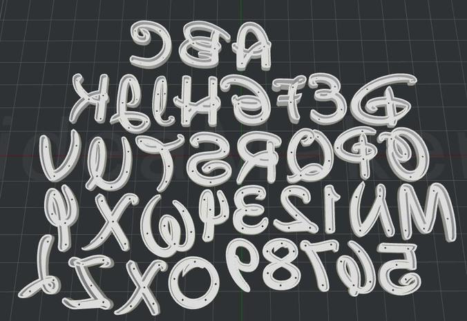 alphabet cutter walt d 3d model stl 1
