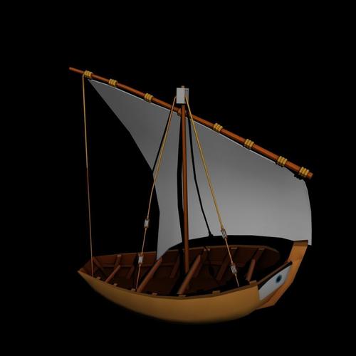 water boat 3d model low-poly obj fbx ma mb stl mtl 1