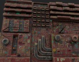 3d low poly sci fi building facade realtime