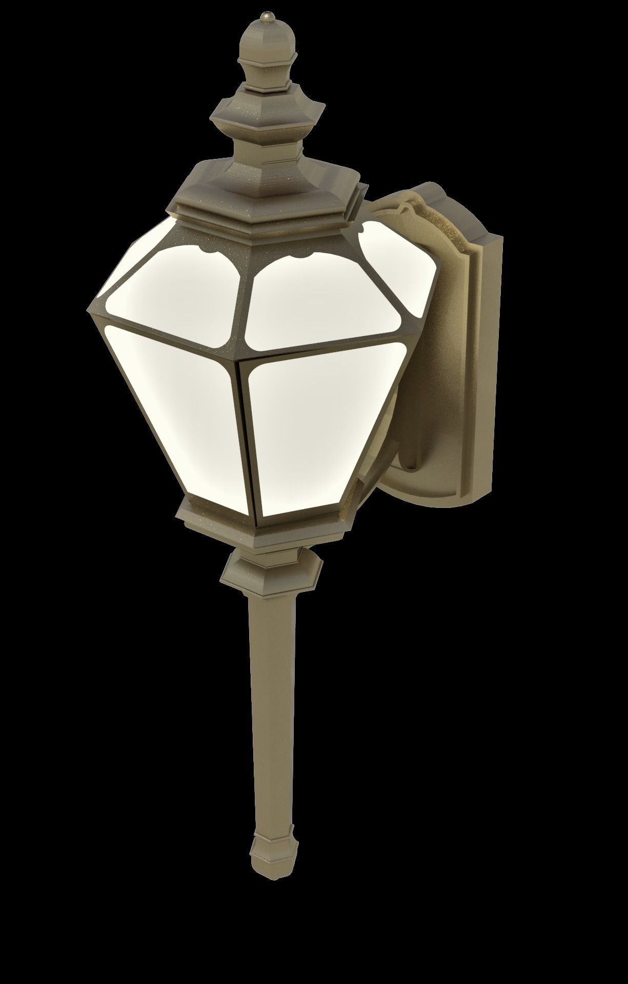 Wall hung ornate architectural scene light exterior fixture