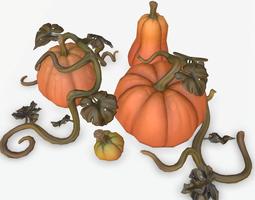 Cartoon Pumpkins 3D asset game-ready