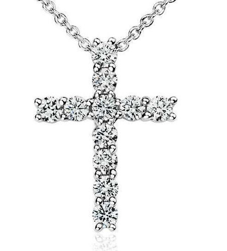 Diamond cross pendant size large 4mm 3d print model diamond cross pendant size large 4mm diamonds 3d model stl mozeypictures