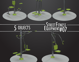 3D Street Fitness Equipment 5objects 07