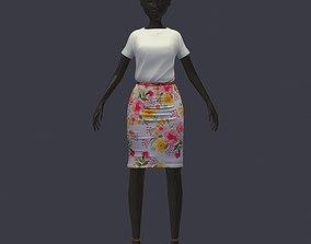 stylish avatar base set blouse skirt with 3D model 2