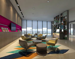3D model office reception hall design complete 02