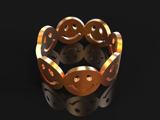 emoji ring 3d print 3d model stl 3dm 1