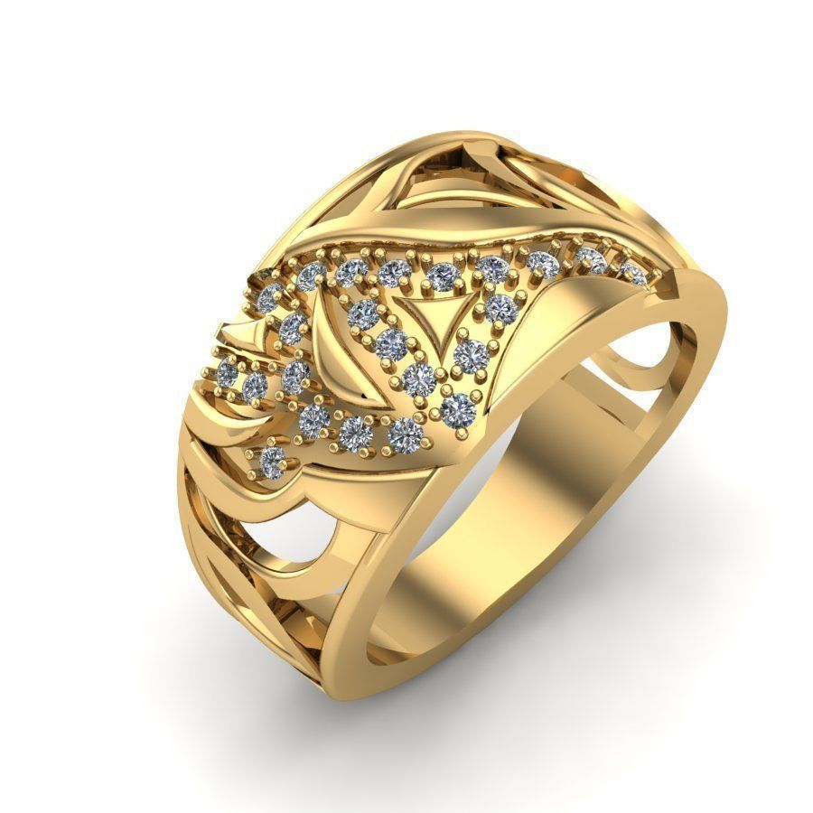 3D print model Gold ring with diamonds and abstract design