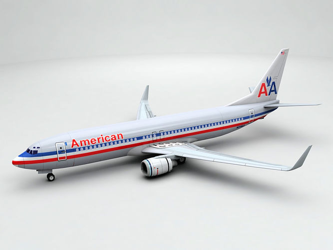 boeing 737-800 ng airliner - american airlines 3d model low-poly max obj 3ds dxf stl wrl wrz 1