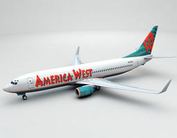 Boeing 737-800 NG Airliner - America West 3D model 1