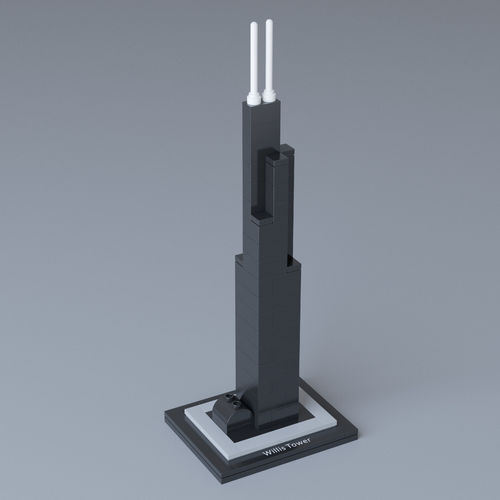 lego architecture willis tower 21000 3d model max obj 1