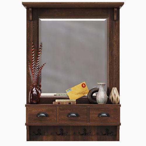 ... Pottery Barn Classic Entryway Mirror Organizer 3d Model Max Obj Fbx 2  ...