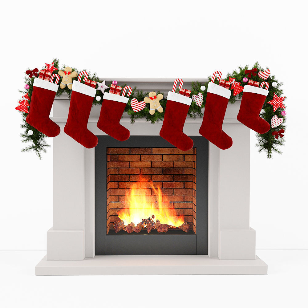 Fireplace Christmas.Christmas Fireplace 3d Model