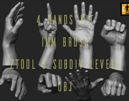 hand in 4 poses 3D asset VR / AR ready