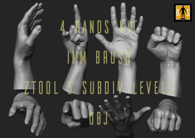 hand in 4 poses  3d model obj mtl ztl 1