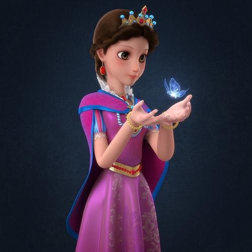 cartoon princess rigged 3d model rigged obj fbx ma mb mtl 1