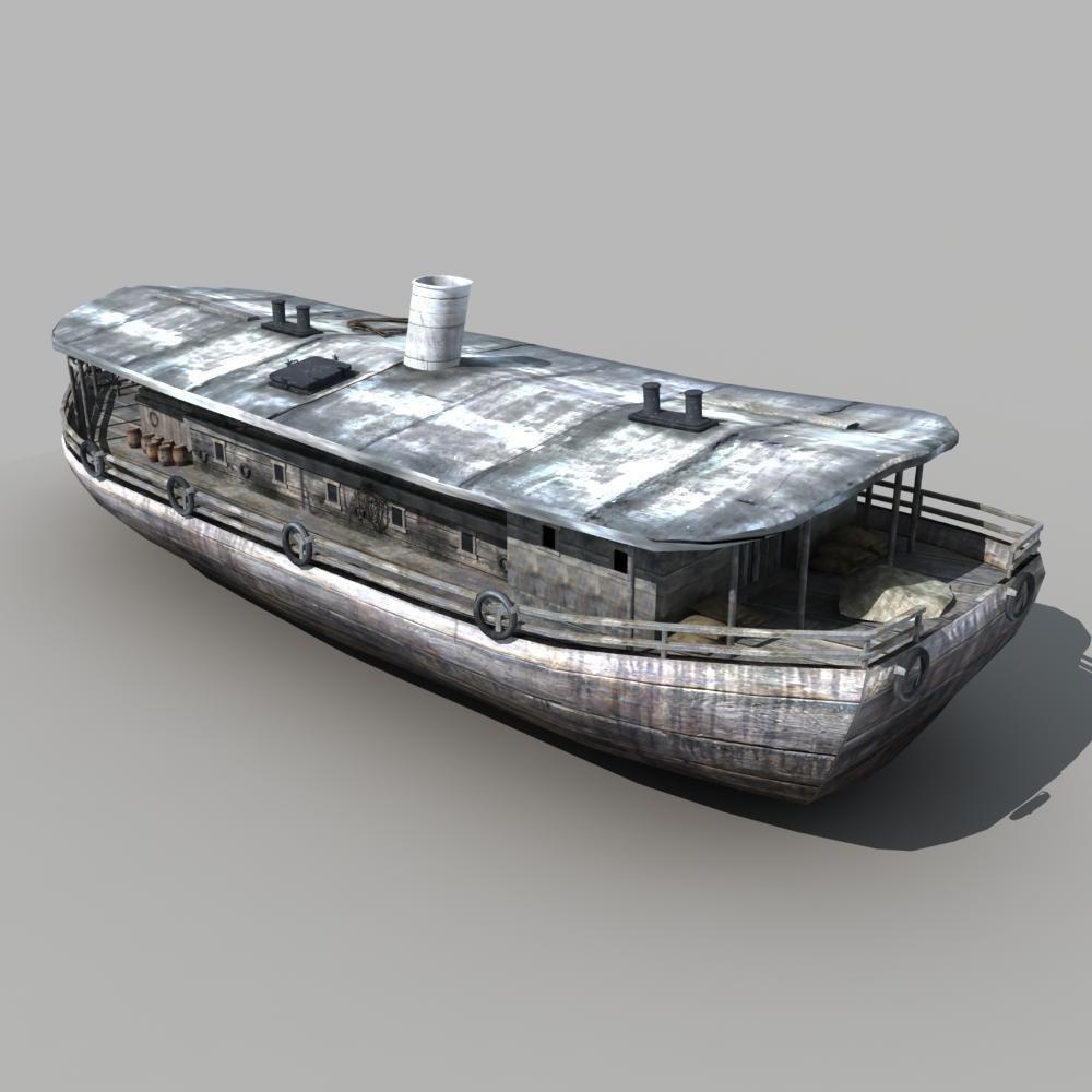 Old Cargo Ship 03 3d Model Max Obj Fbx Cgtrader Com