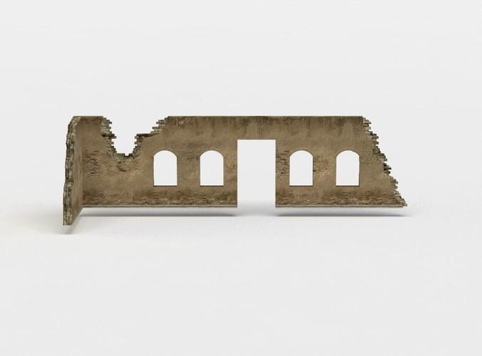 wall ruins 3d model low-poly obj mtl fbx c4d lwo lw lws dae X 1