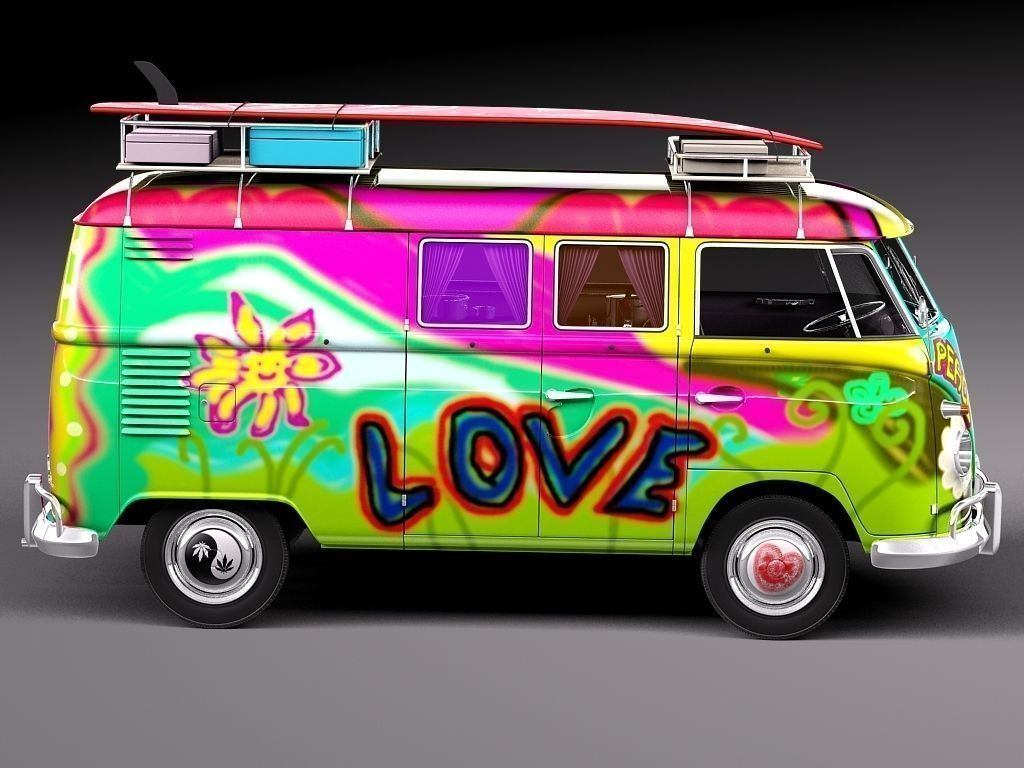 volkswagen camper van 1950 hippy 3d model max obj 3ds. Black Bedroom Furniture Sets. Home Design Ideas