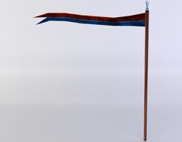 flag with long stem 3d model realtime