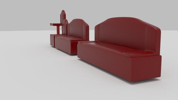 uflee futuristic furniture pack 3d model game ready obj