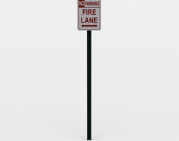 realtime 3d asset fire lane sign small
