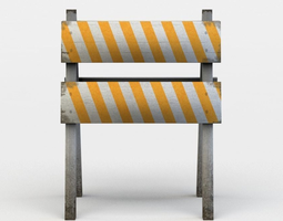 3d model game-ready small wooden barrier