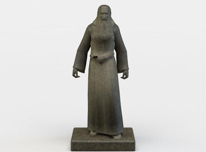 wizard statue 3d model low-poly obj mtl fbx lwo lw lws dae X u3d 1