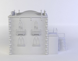 small white castle  game-ready 3d model